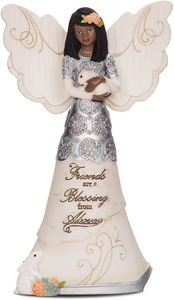 "EBN Friends are a Blessing by Elements - 6"" EBN Angel Holding Bunny"