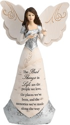 "Best Things in Life by Elements - 8"" Angel Holding Butterflies"