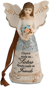 "Sister by Elements - 4.75"" Angel Holding Flowers Ornament"