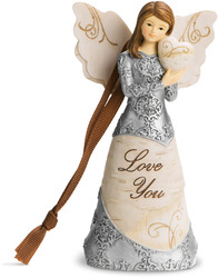 "Love You by Elements - 4.5"" Angel Holding Heart Ornament"