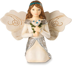 "December by Elements - 3"" Monthly Angel w/Zircon Accents"