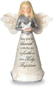 "Baptism by Elements - 5.5"" Angel Holding Seashell & Dove"
