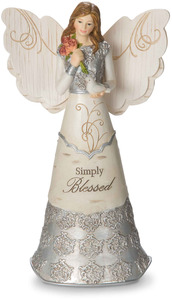 "Simply Blessed by Elements - 6"" Angel Holding Flowers & Dove"