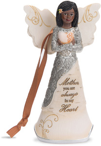 "Mother by Elements - 4.5"" EBN Angel Ornament with Heart"