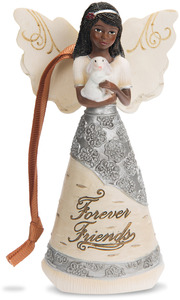 "Friend by Elements - 4.5"" EBN Angel Ornament with Bunny"