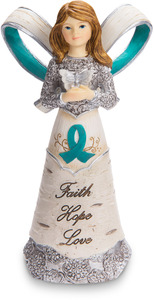 "Teal Ribbon by Elements - 5"" Ribbon Angel"
