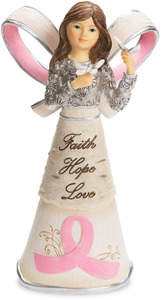 "Pink Ribbon by Elements - 5"" Ribbon Angel"