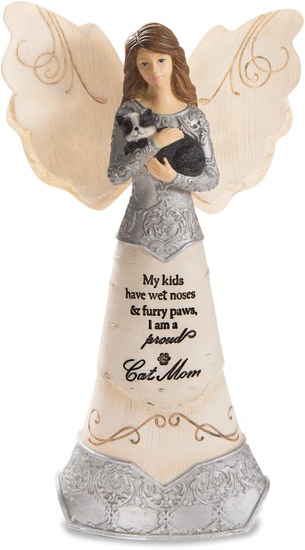 "Cat Mom by Elements - Cat Mom - 6"" Angel Holding Cat"