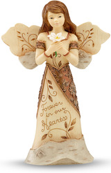 "Copper - Forever in our... by Elements - 5.5"" Angel Holding Flower"