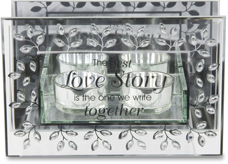 "The Best Love Story by Glorious Occasions - 4.75"" Double Tealight Holder"