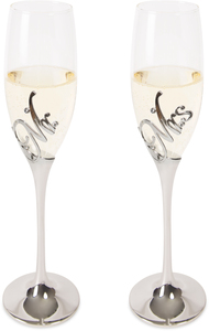 Mr. & Mrs. by Glorious Occasions - (2) 8 oz. Champagne Flute Set with Zinc Stem