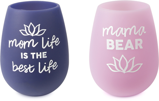 Mom Life by Mom Life - Mom Life - 13 oz Silicone Wine Glasses (Set of 2)