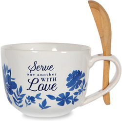 Serve with Love by Eat Share Love - 20 oz Soup Bowl with Bamboo Spoon