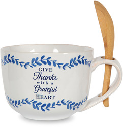 Give Thanks by Eat Share Love - 20 oz Soup Bowl with Bamboo Spoon
