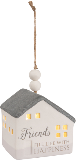 "Friends by Love Lives Here - Friends - 3.75"" LED Lit Hanging Porcelain House"
