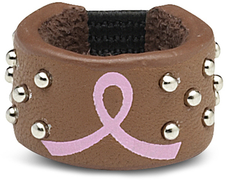 Courage by LAYLA - Brown Leather Ring with Silver Metal Studs and Pink Ribbon to symbolize Breast Cancer Awareness