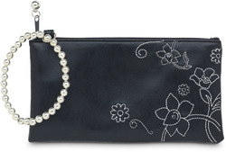"Black Floral by LAYLA - 7"" x 4"" Genuine Leather Purse/Wristlet"