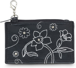 "Black Floral by LAYLA - 4.5"" x 2.75"" Genuine Leather Purse"