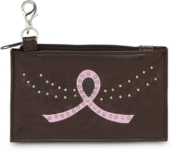 "Courage by LAYLA - 4.5"" x 2.75"" Coin Purse with Metal Studs and Pink Ribbon to symbolize Breast Cancer Awareness"