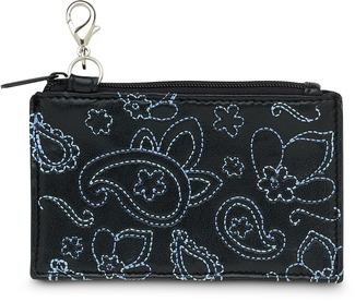 "Black & Blue Paisley by LAYLA - 4.5"" x 2.75"" Genuine Leather Purse"