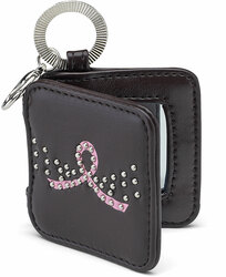"Courage by LAYLA - 2"" Mirrored Key Chain with Metal Studs and Pink Ribbon to symbolize Breast Cancer Awareness"