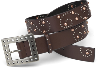 "Brown Swirl Belt by LAYLA - 43"" Leather & Stud"