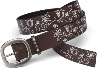 "White Floral Stitched Belt by LAYLA - 43"" Brown Leather & Gem"