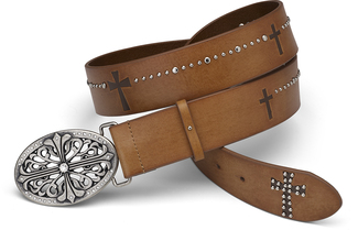 "Faith Belt by LAYLA - 43""Camel Leather & Stud"