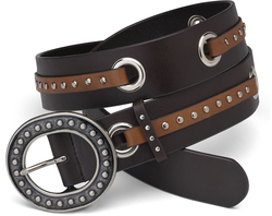 "Brown & Camel Grommet Belt by LAYLA - 43"" Leather & Stud"