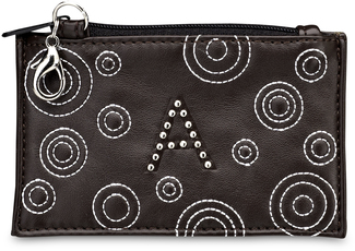 """A"" Coin Purse by LAYLA - 4.5"" x 2.75"" Circle Stitched"