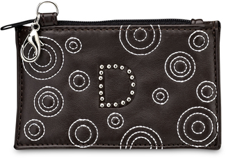 """D"" Coin Purse by LAYLA - 4.5"" x 2.75"" Circle Stitched"