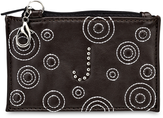 """J"" Coin Purse by LAYLA - 4.5"" x 2.75"" Circle Stitched"