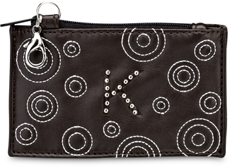 """K"" Coin Purse by LAYLA - 4.5"" x 2.75"" Circle Stitched"