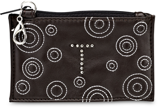 """T"" Coin Purse by LAYLA - 4.5"" x 2.75"" Circle Stitched"