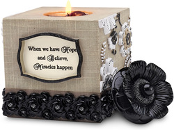 "Hope by Modeles - 4.5"" Square Tea Light Holder"