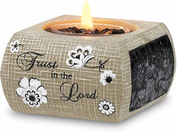 "Trust in the Lord (w/TL) by Modeles - 2.5"" Square Tea Light Holder"