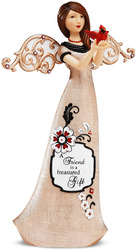 "Friend by Modeles Holiday - 9"" Angel Holding Cardinal"