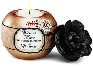"Bless this Home by Modeles Holiday - 3"" Candle Holder"