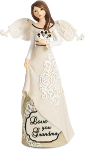 "Love You Grandma by Modeles - 6"" Angel Holding Flower"