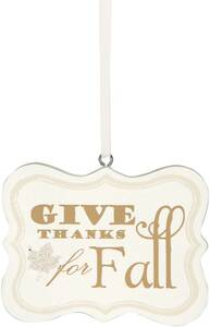 "Give Thanks for Fall by Signs of Happiness - 2.75""x2.25"" Hanging Plaque"