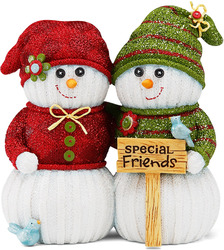 "Special Friends by The Sockings - 4.5"" Snowmen with Sign"