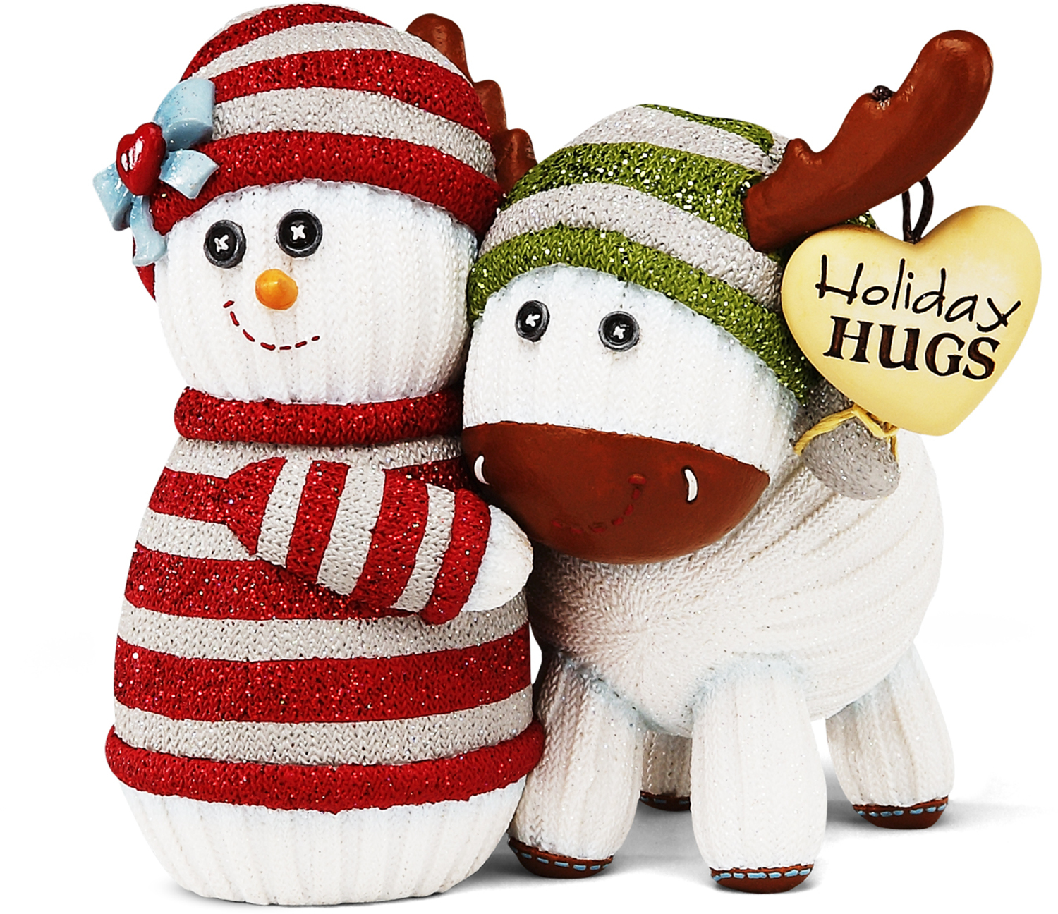 "Holiday Hugs, 4"" Snowman Hugging Moose"