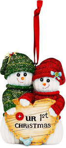 "Our 1st Christmas by The Sockings - 4"" Snowcouple Ornament"