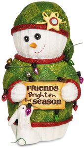 "Friends Brighten the Season by The Sockings - 5"" Snowman with Bunny"