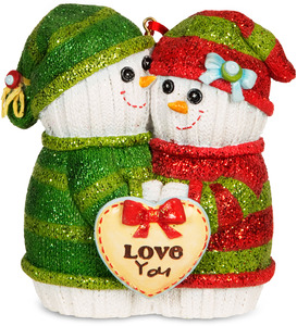 "Love You by The Sockings - 3.75"" Snowcouple Ornament"