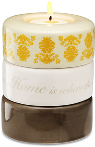 "Home (Yellow) by Calla - Trio - 3.25""x4"" Stack Candle Holder"