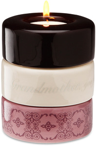 "Grandmother (Purple) by Calla - Trio - 3.25""x4"" Stack Candle Holder"