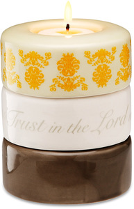"Trust in the Lord (Yellow) by Calla - Trio - 3.25"" x 4"" Stack Candle Holder"