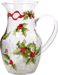 "Glass Pitcher by Holiday Holly - 10""H"