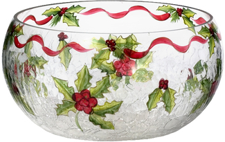 Large Glass Bowl by Holiday Holly - 10""